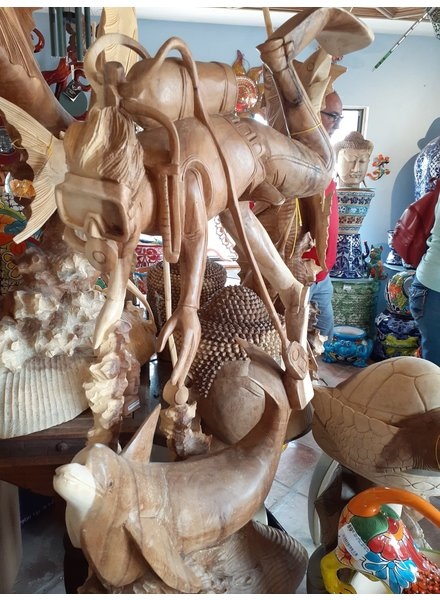 CARVED WOOD CARVED TEAK DIVER