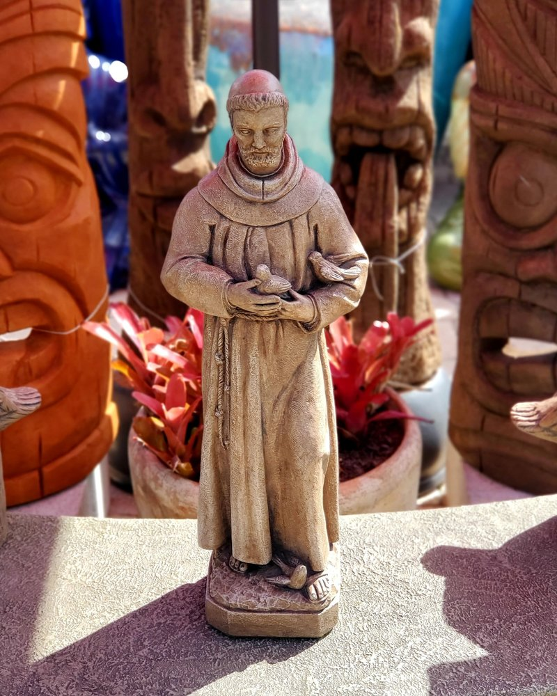 """SCULPTURE 26"""" ST FRANCIS WITH BIRD"""