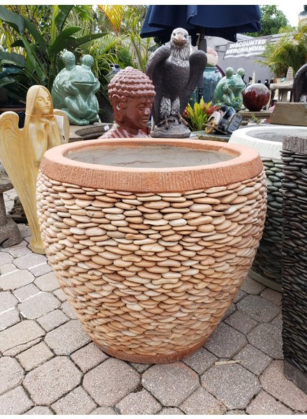 NATURAL STONE NAPLES PEBBLE PLANTER LG