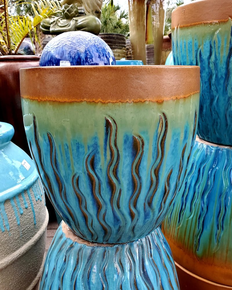 HIGH FIRED CERAMIC PREMIUM FLAME PLANTER MD