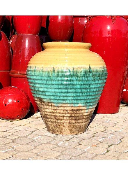 HIGH FIRED CERAMIC PREMIUM WIDE RINGED JAR