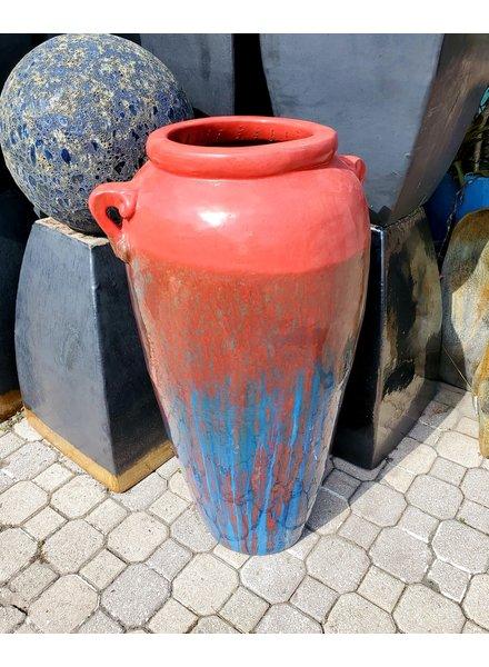 HIGH FIRED CERAMIC PREMIUM JAR W/BIG HANDLES