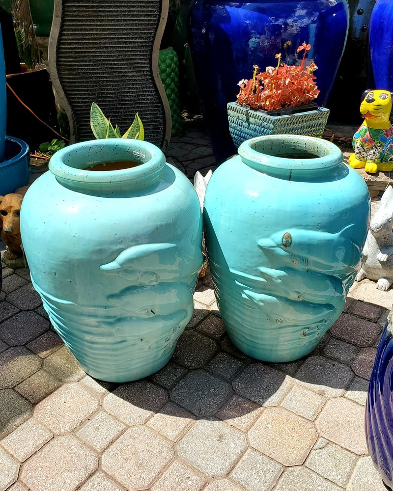 HIGH FIRED CERAMIC PREMIUM DOLPHIN JAR