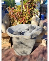 NATURAL STONE TWO TURTLE BIRDBATH