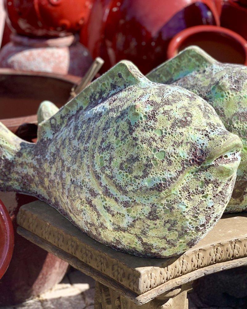HIGH FIRED CERAMIC LAVA PUFFER FISH LG
