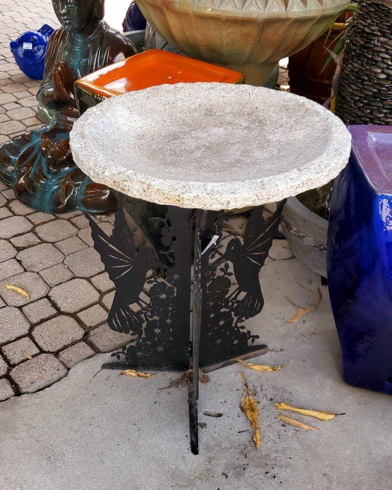 NATURAL STONE HUMMINGBIRD SILHOUETTE BIRDBATH