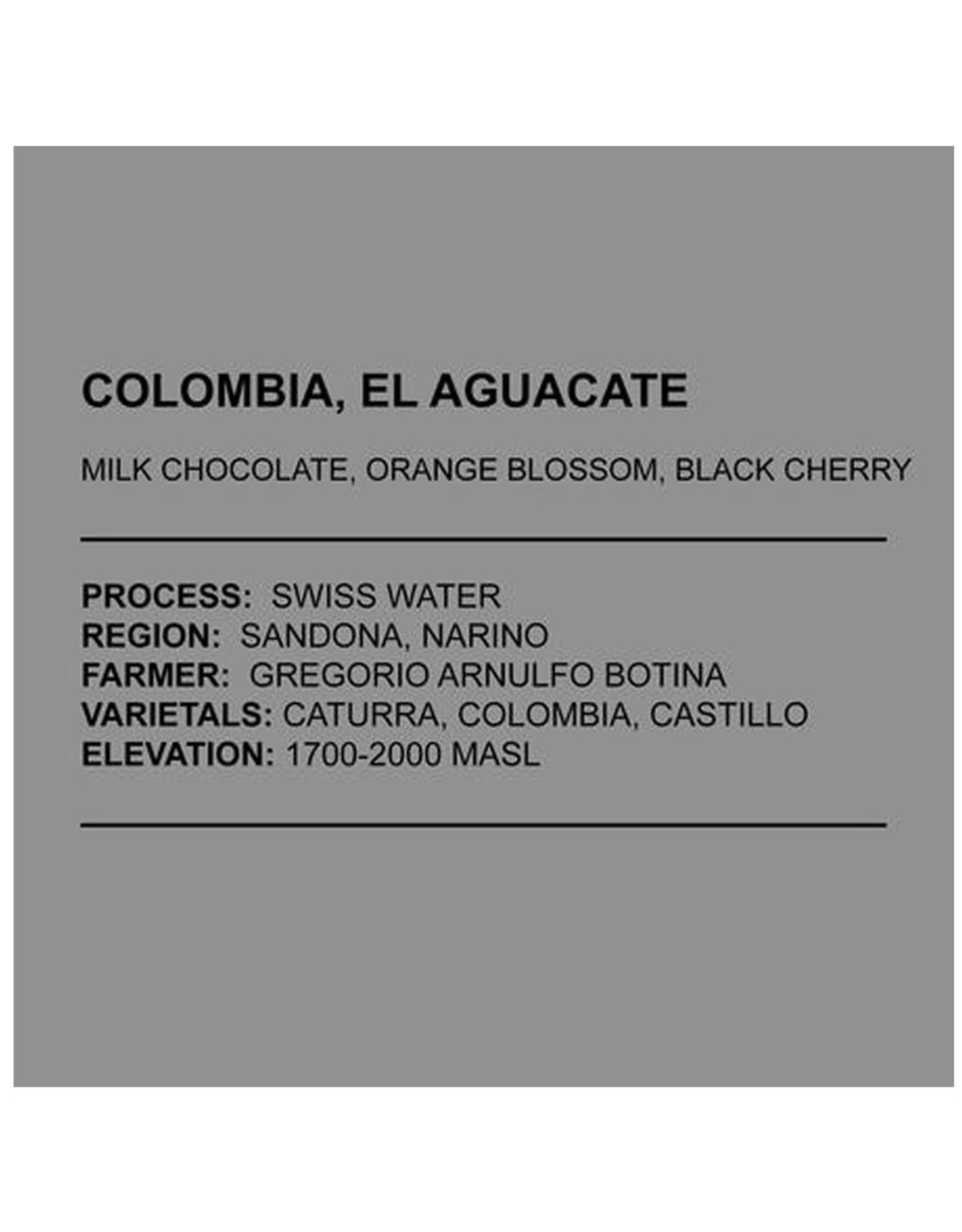 Café Anchored - Colombia, El Aquacate - Decaf - 340g
