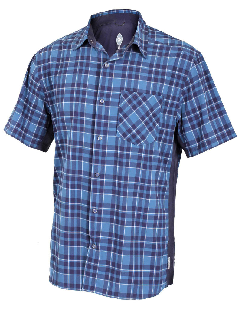 CLUB RIDE Detour Men's Short Sleeve Snap Down Top Steel Blue XL