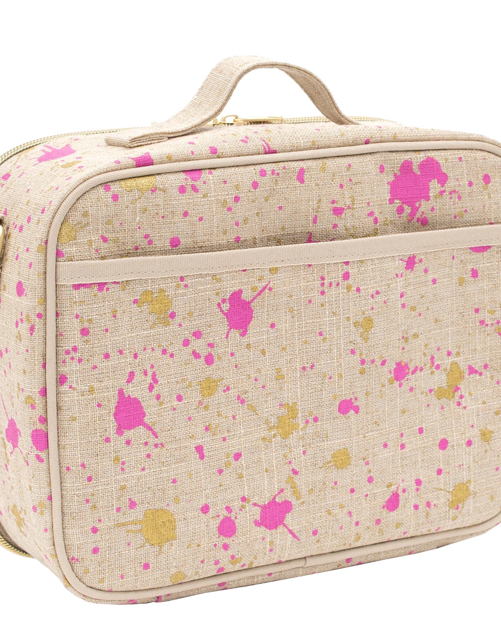 SoYoung Boîte à lunch 'Linen Fuschia-Gold Splatter'