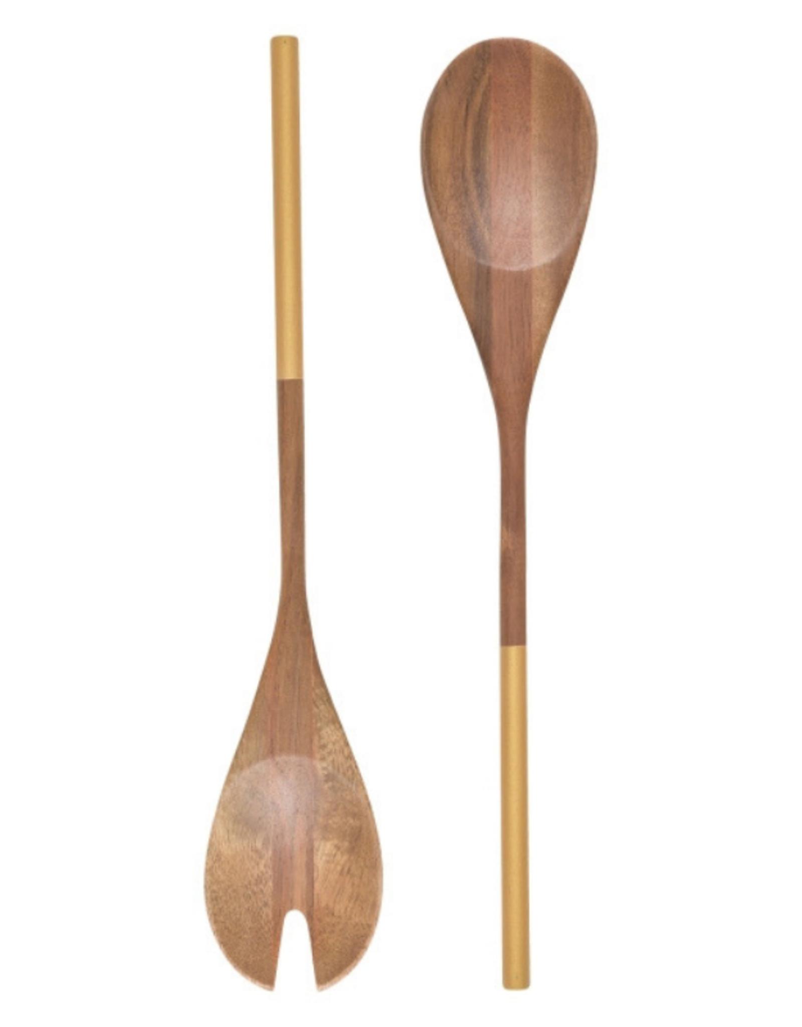 Now Designs Ustensiles à salade en bois au manche doré
