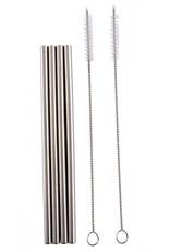 Norpro Paquet de 4 pailles réutilisables en acier inoxydable