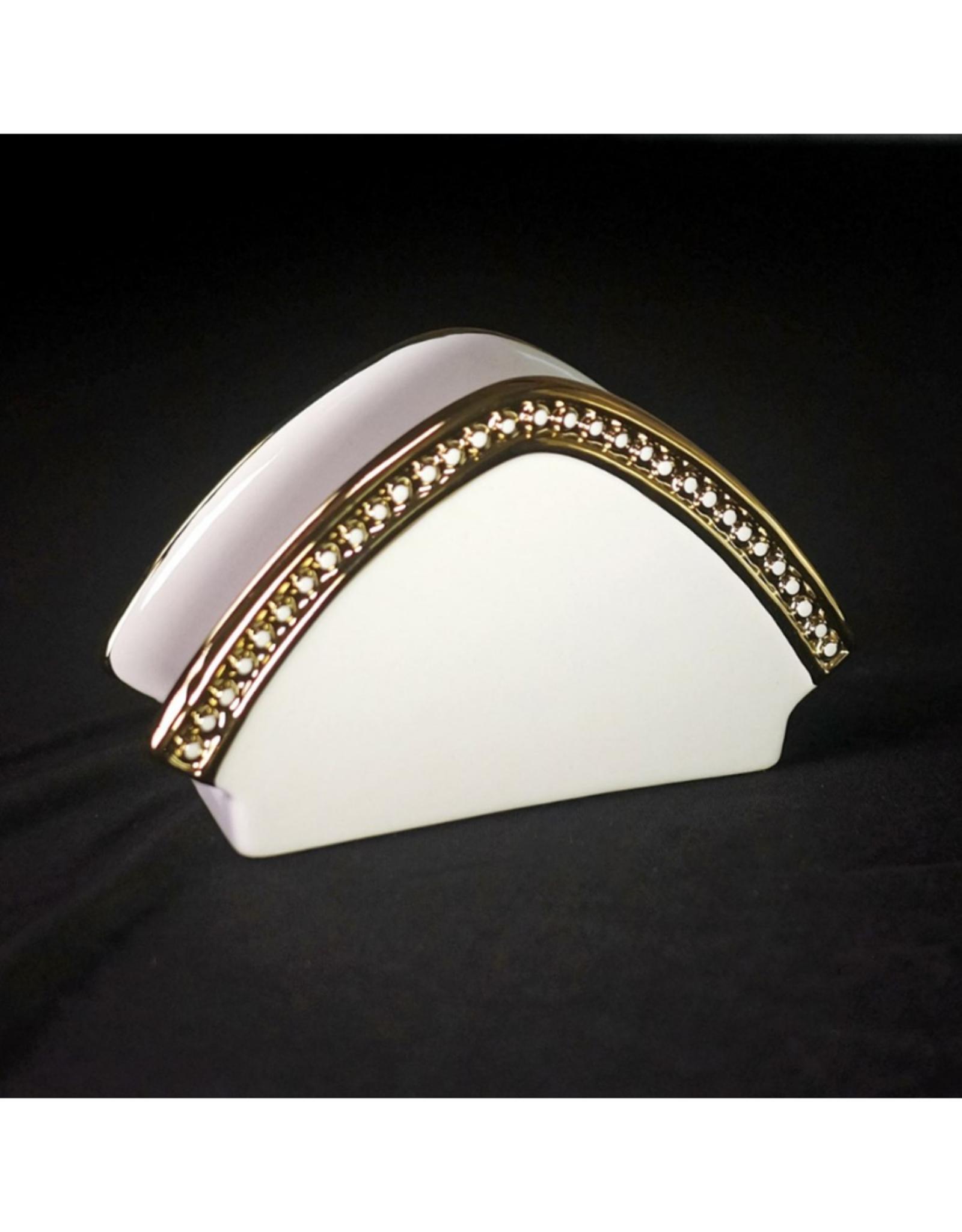 Porte-serviettes en porcelaine blanc contour or