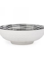 Grand bol blanc à motifs noirs