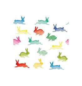 Serviettes en papier - lapins multi-colores