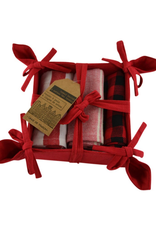 Panier à pain avec 3 linges assortis - rouge