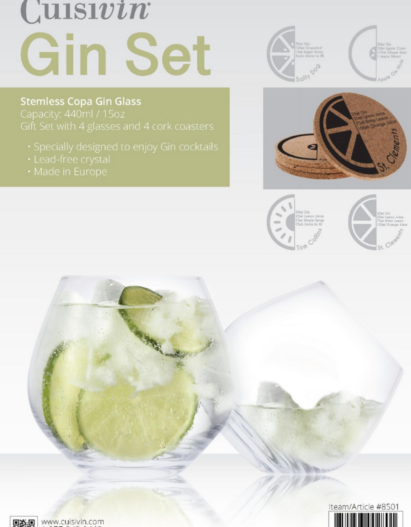 Ens. 4 verres à gin sans pied avec sous-verres Copa