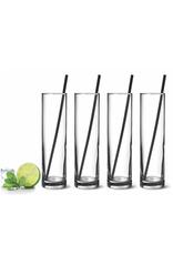 Ens. 4 verres Mojito/Zombie avec pailles en inox