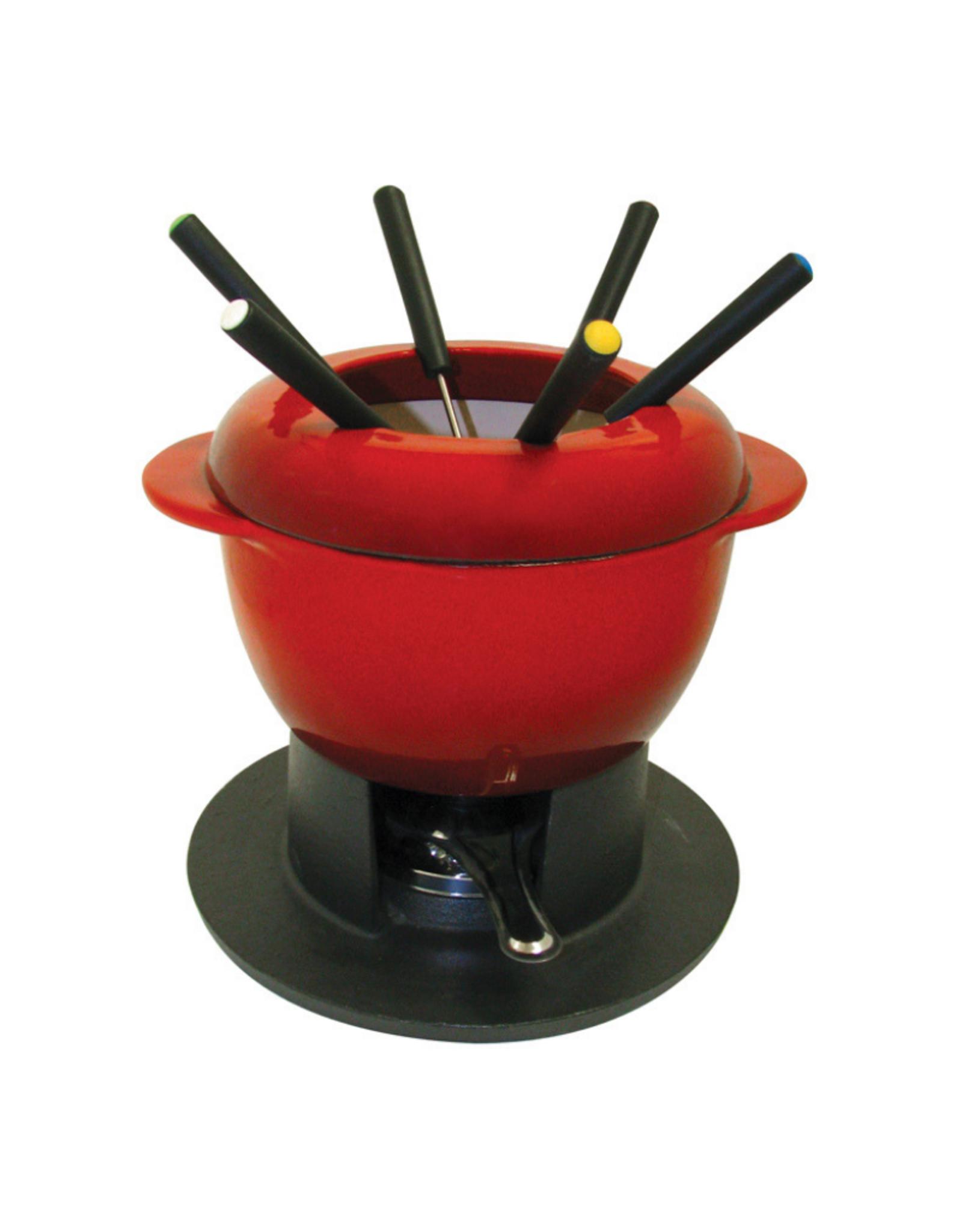 Ens. pour fondue chinoise jumbo en fonte émaillée 10 pcs rouge