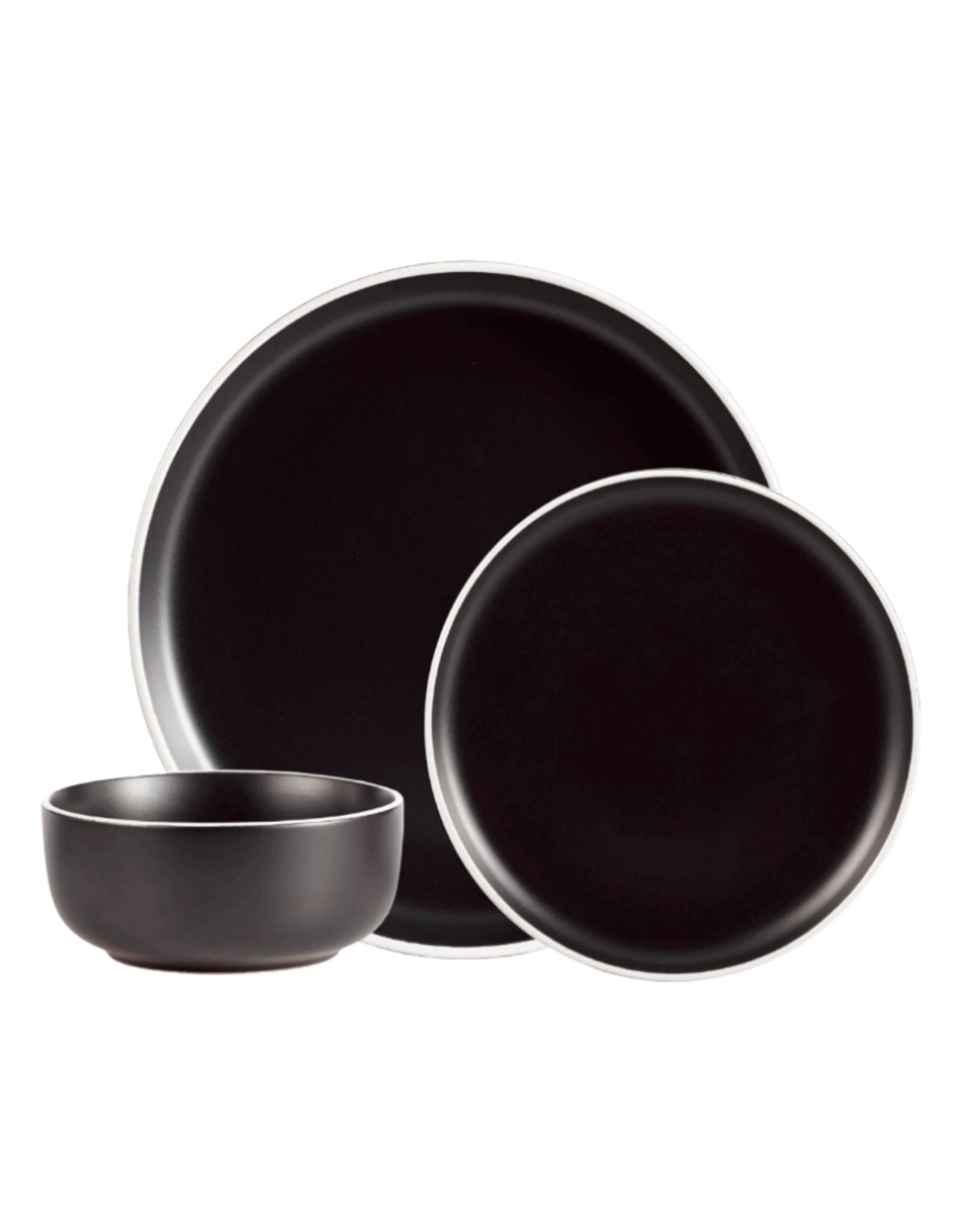 Ens. vaisselle 12 pièces en grès noir