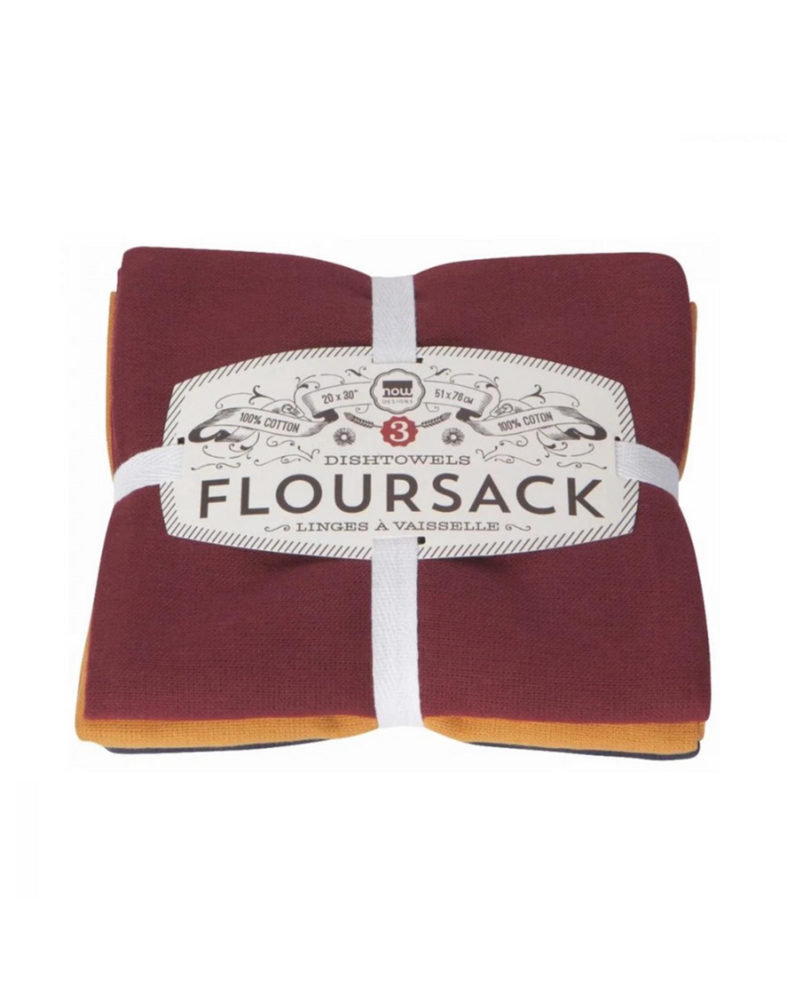 Now Designs Ens. 3 linges à vaisselle 'Floursack' - vin, maïs, minuit