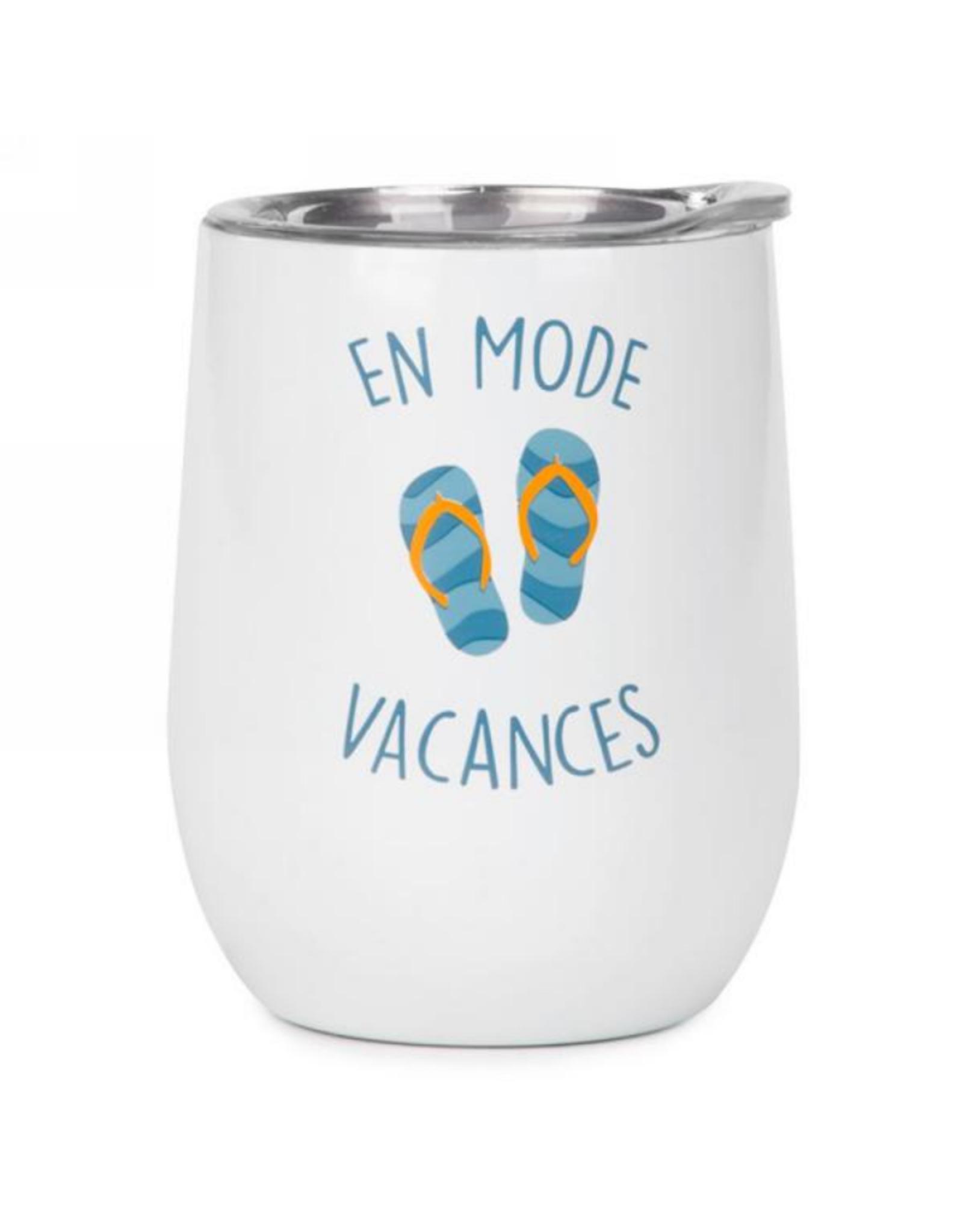 Verre à vin isolé 'En mode vacances'