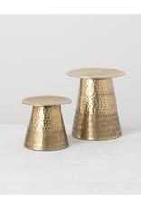 Ens. 2 bougeoirs en aluminium doré