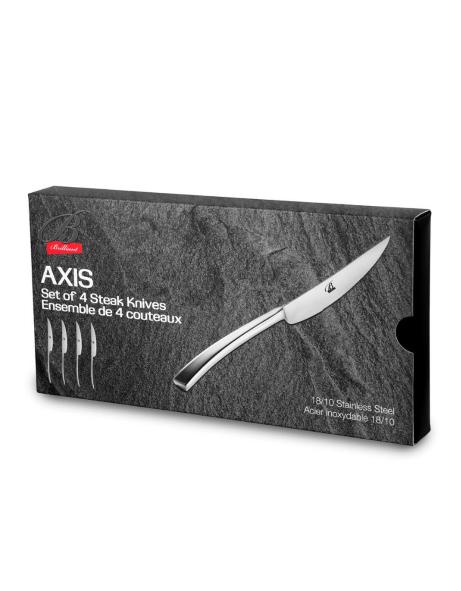 Ens. 4 couteaux à steak AXIS en inox 18/10