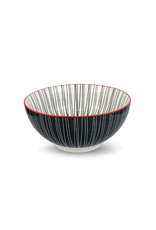 Bol noir et blanc avec ligne rouge 10cm