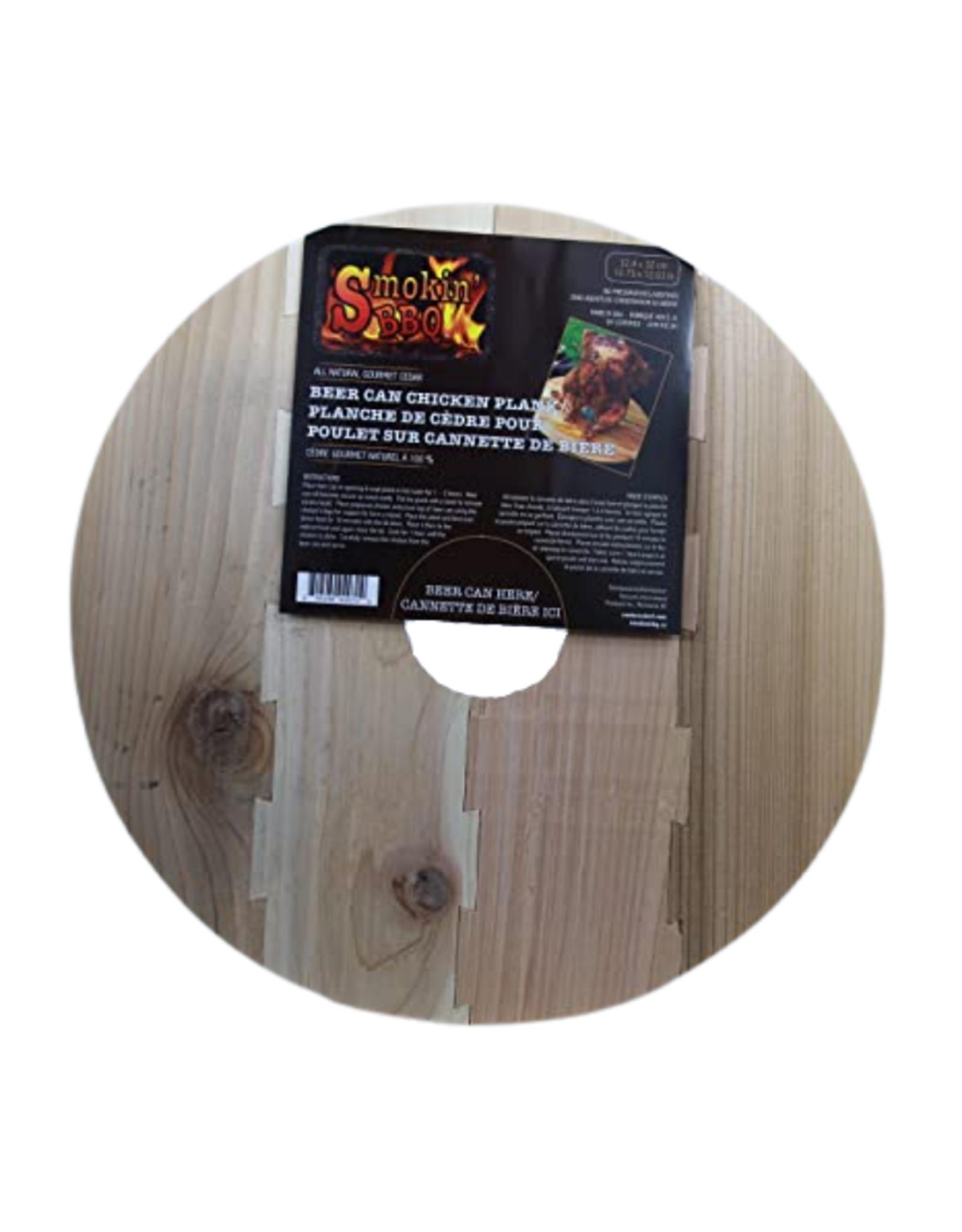 Planche en cèdre pour poulet sur la canne de bière