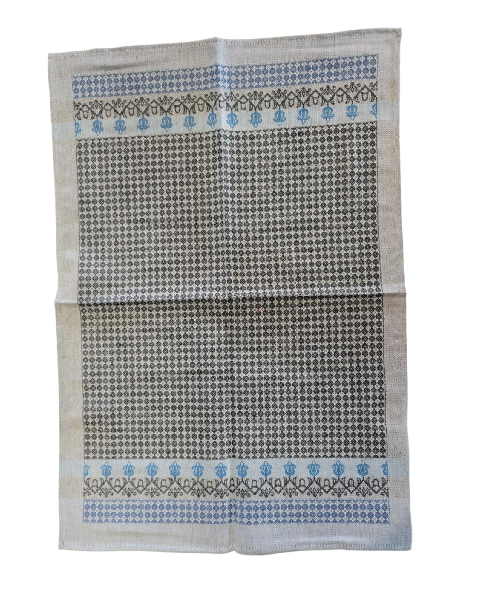 Linge à vaisselle Tavolo imprimé gris et bleu, 50% lin 50% coton