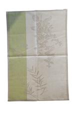 Linge à vaisselle Herbes Vert et beige , 50% lin 50% coton