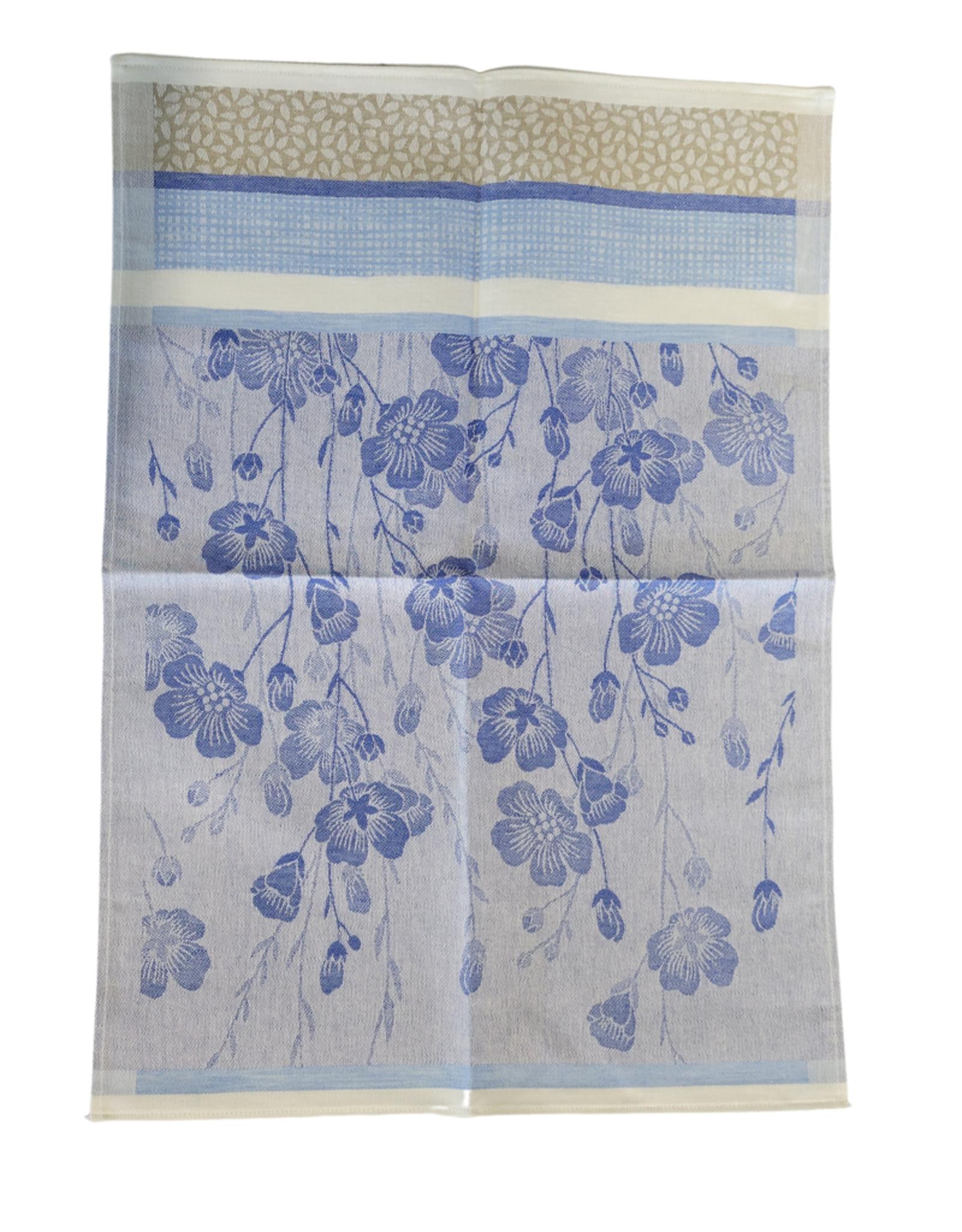 Linge à vaisselle motifs fleurs de lin bleu et crème , 50% lin 50% coton