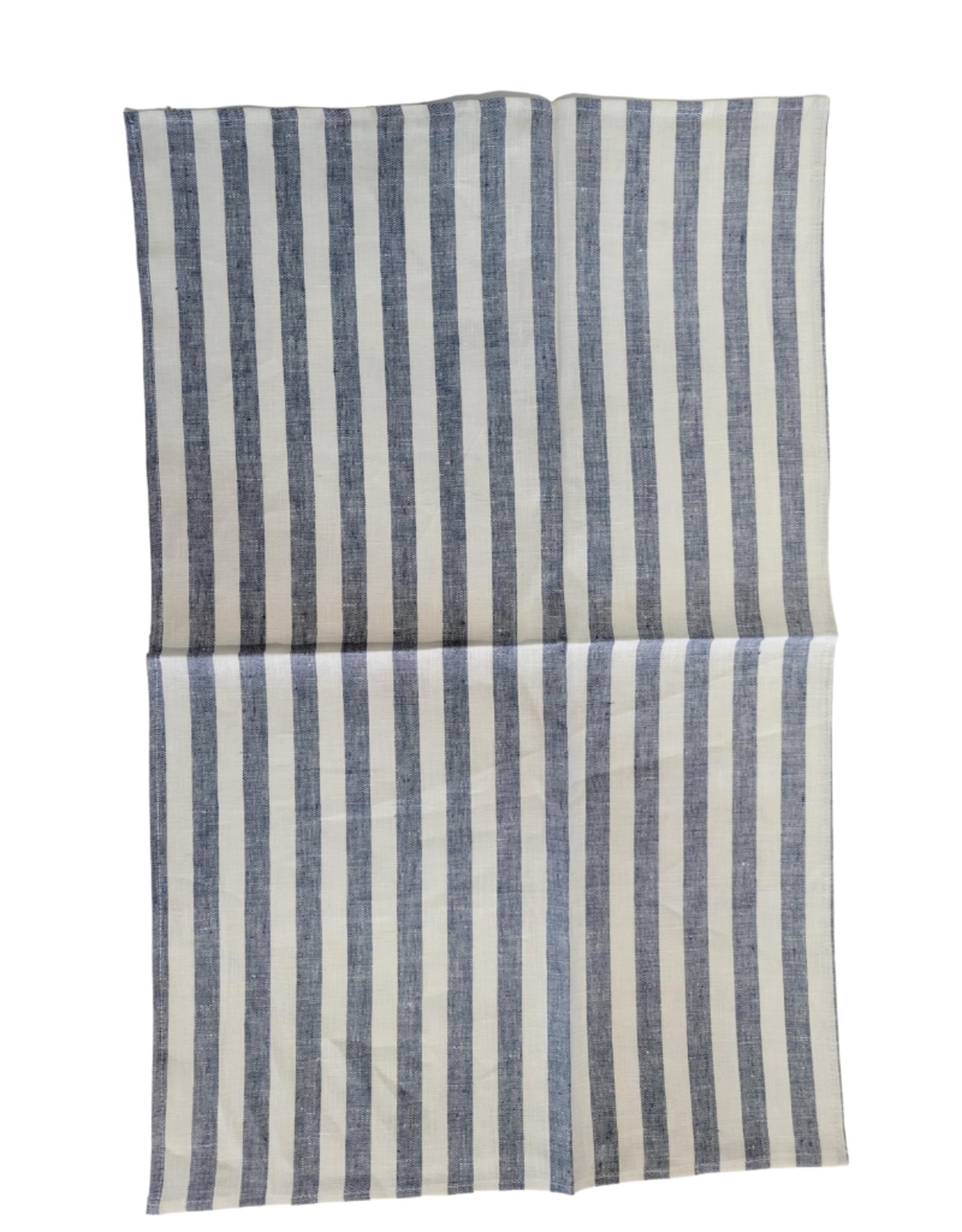 Linge à vaisselle blanc à rayures bleues , 100% lin