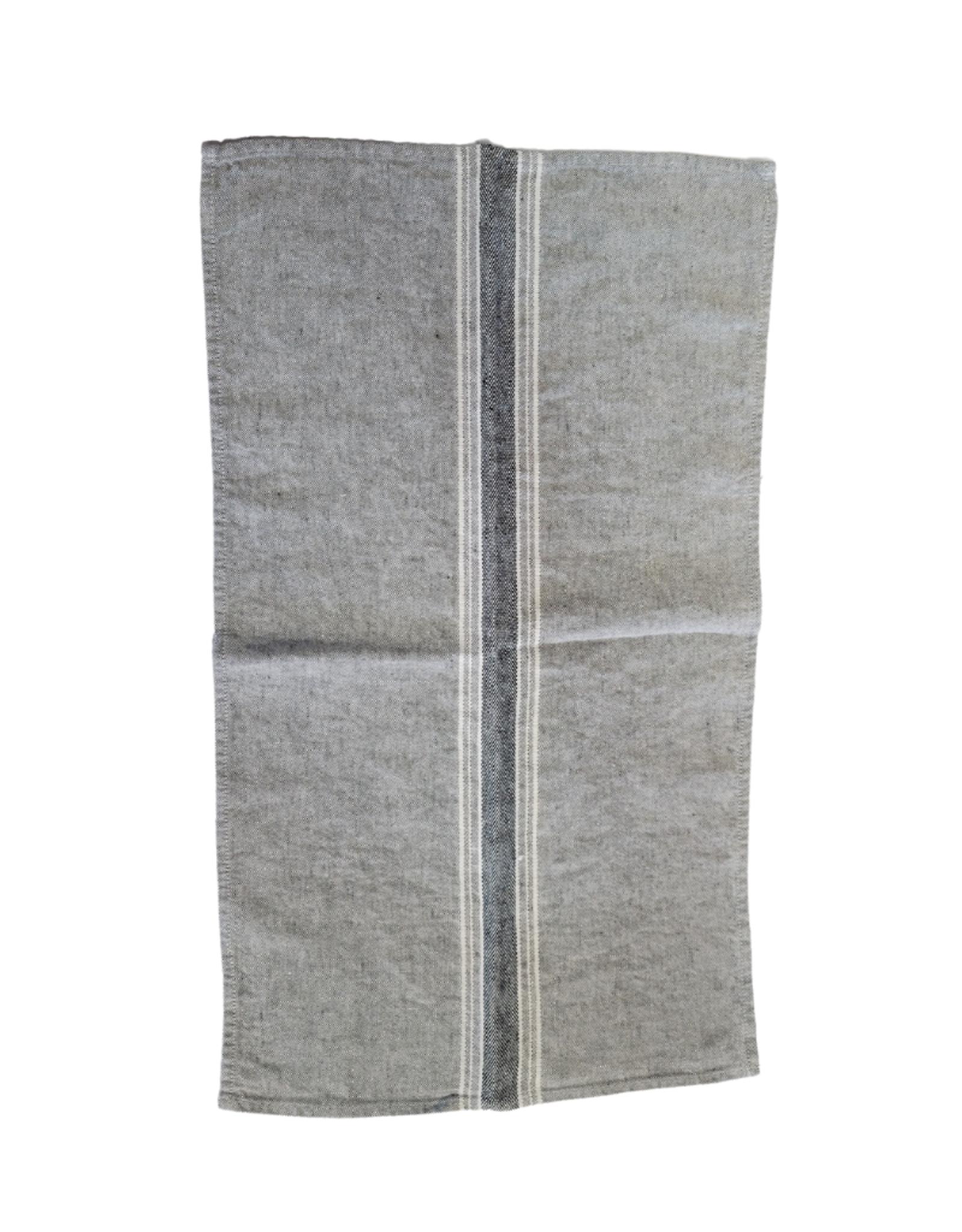 Linge à vaisselle gris avec rayures blanches et noires, 100% lin lavé à la pierre