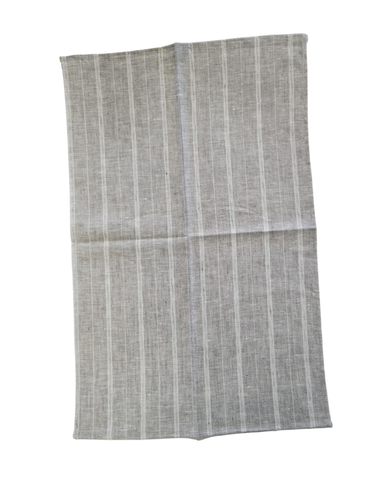 Linge à vaisselle gris à rayures blanches , 100% lin