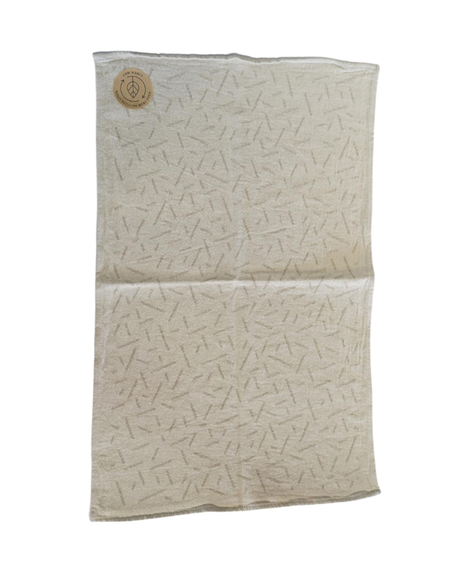 Linge à vaisselle sable avec motifs barres beige