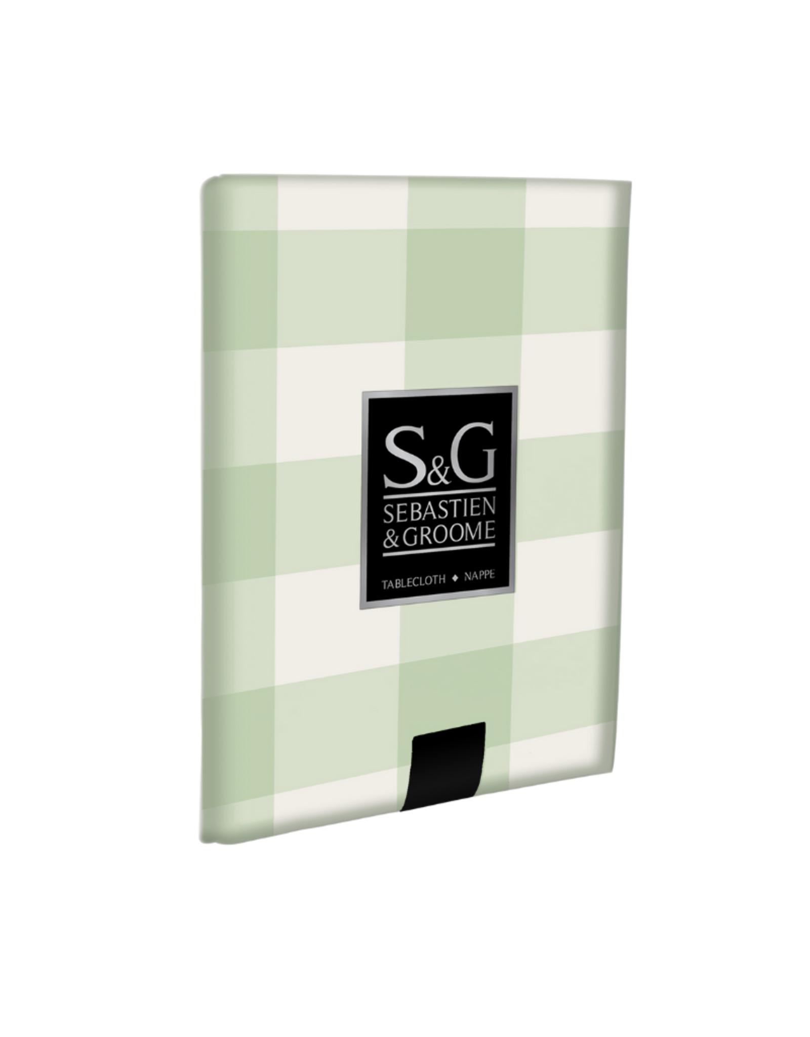 S&G Nappe S&G Carreaux Buffalo Blanc et vert pâle 60'' x 84''