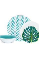 Ensemble de vaisselle en mélamine 12 mcx  motifs turquoise et feuille
