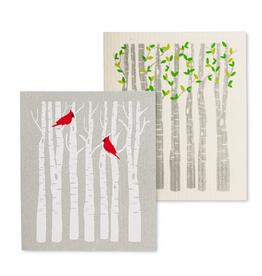 Abbott Ens. 2 linges en cellulose Cardinaux et arbres