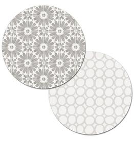 Highland Home Napperon rond réversible gris et blanc