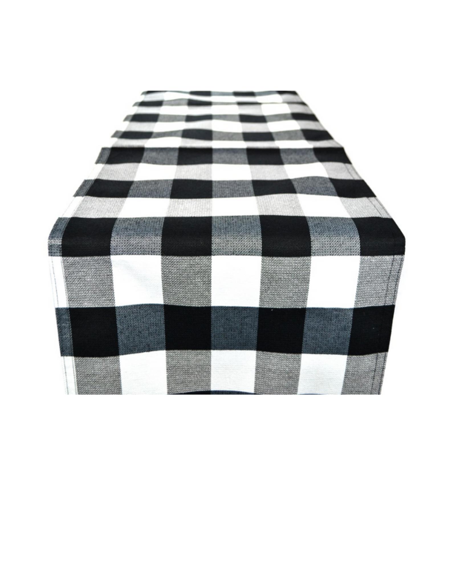 Chemin de table à carreaux noirs et blancs 14'' x 45''