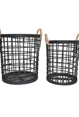 Ensemble de 2 paniers en bambou noir (32 x 32 & 27 x 27 cm)