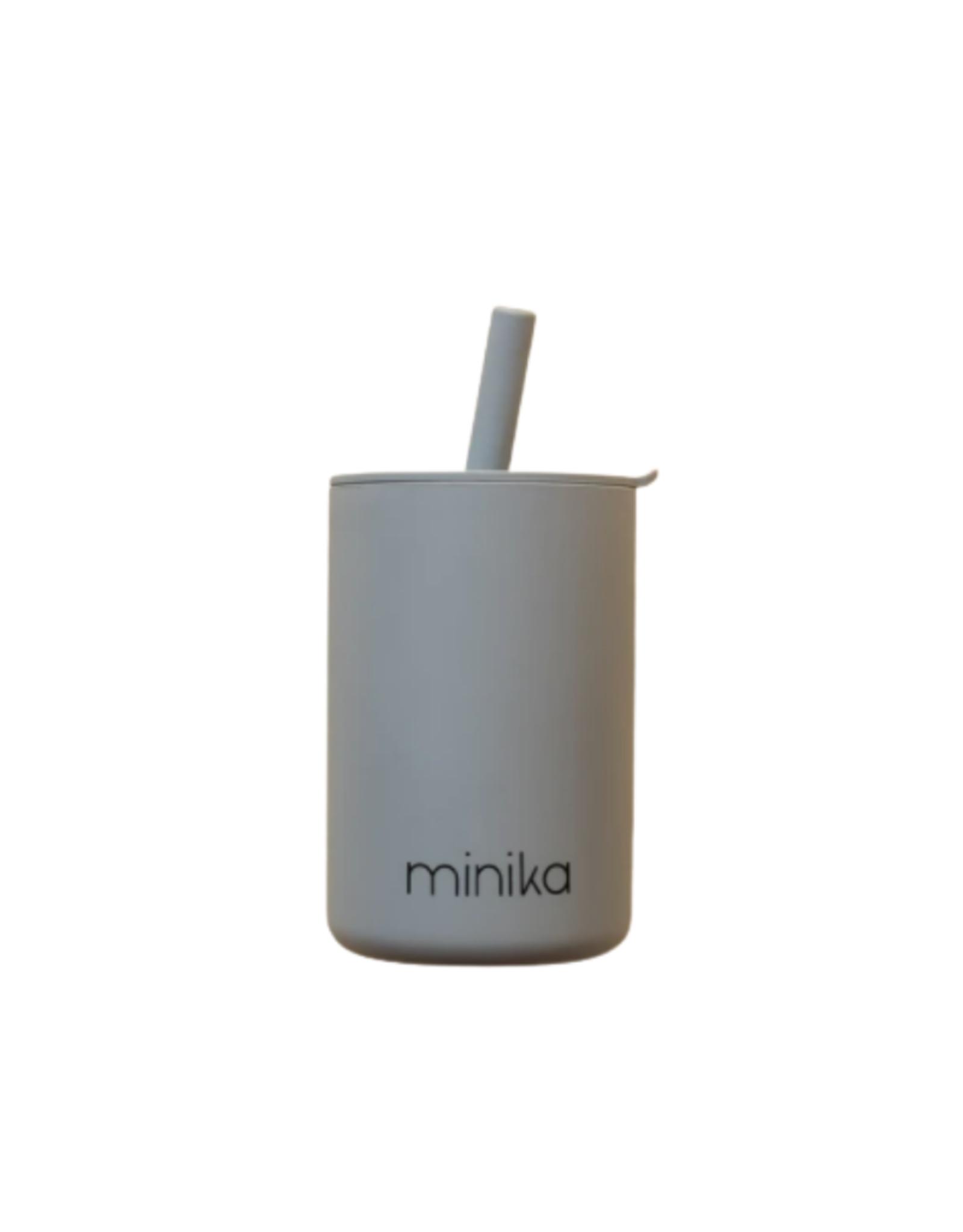 Minika Verre avec couvercle et paille en silicone -pierre