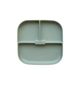 Minika Assiette séparée en silicone avec base succion -sauge