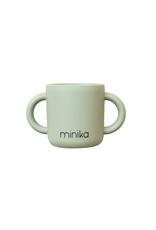 Minika Tasse d'apprentissage avec 2 poignées en silicone-sauge