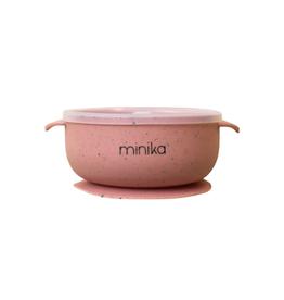Minika Bol à succion avec couvercle et poignées en silicone-sorbet