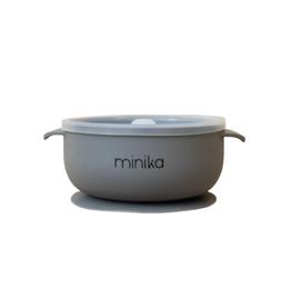 Minika Bol à succion avec couvercle et poignées en silicone-pierre