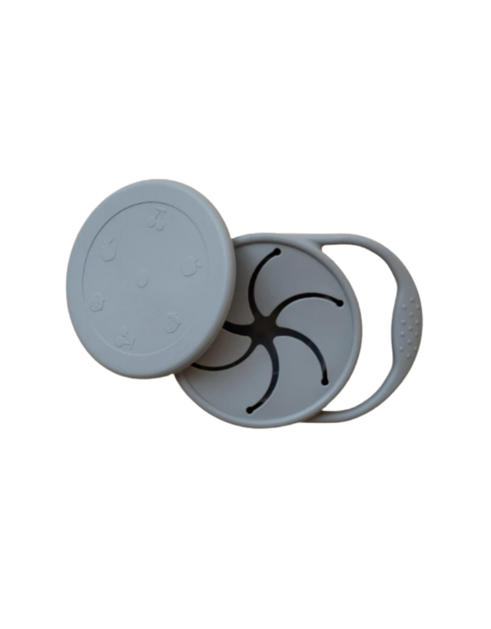 Minika Bol à collation rétractable avec couvercle et poignée en silicone-pierre