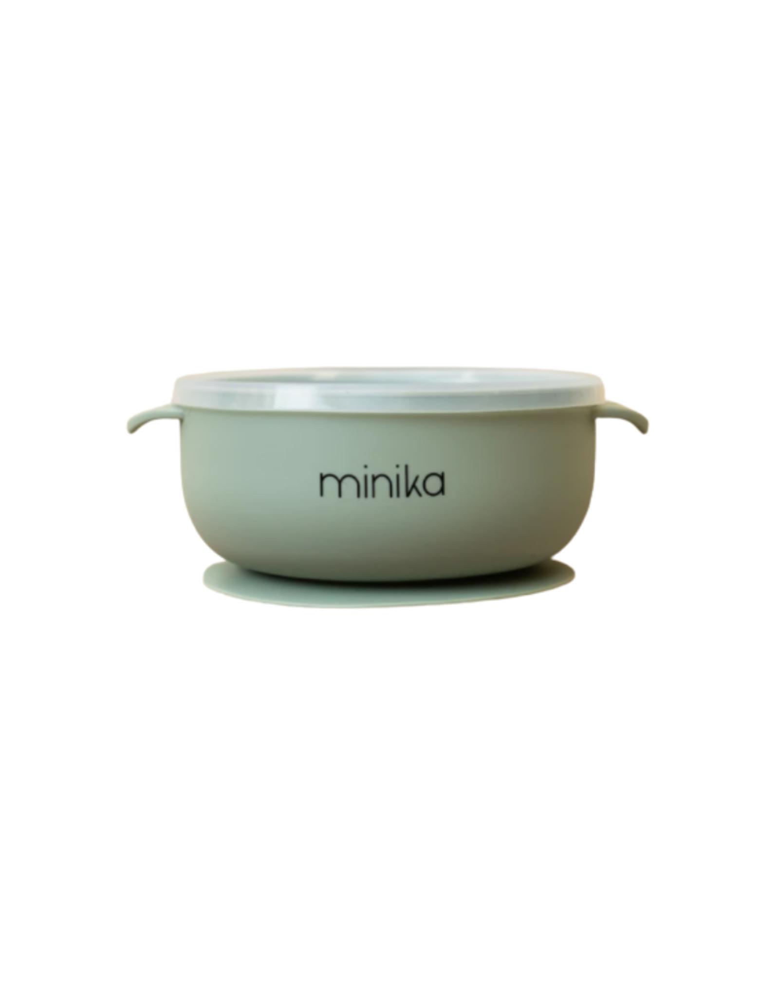 Minika Bol à succion avec couvercle et poignées en silicone-sauge