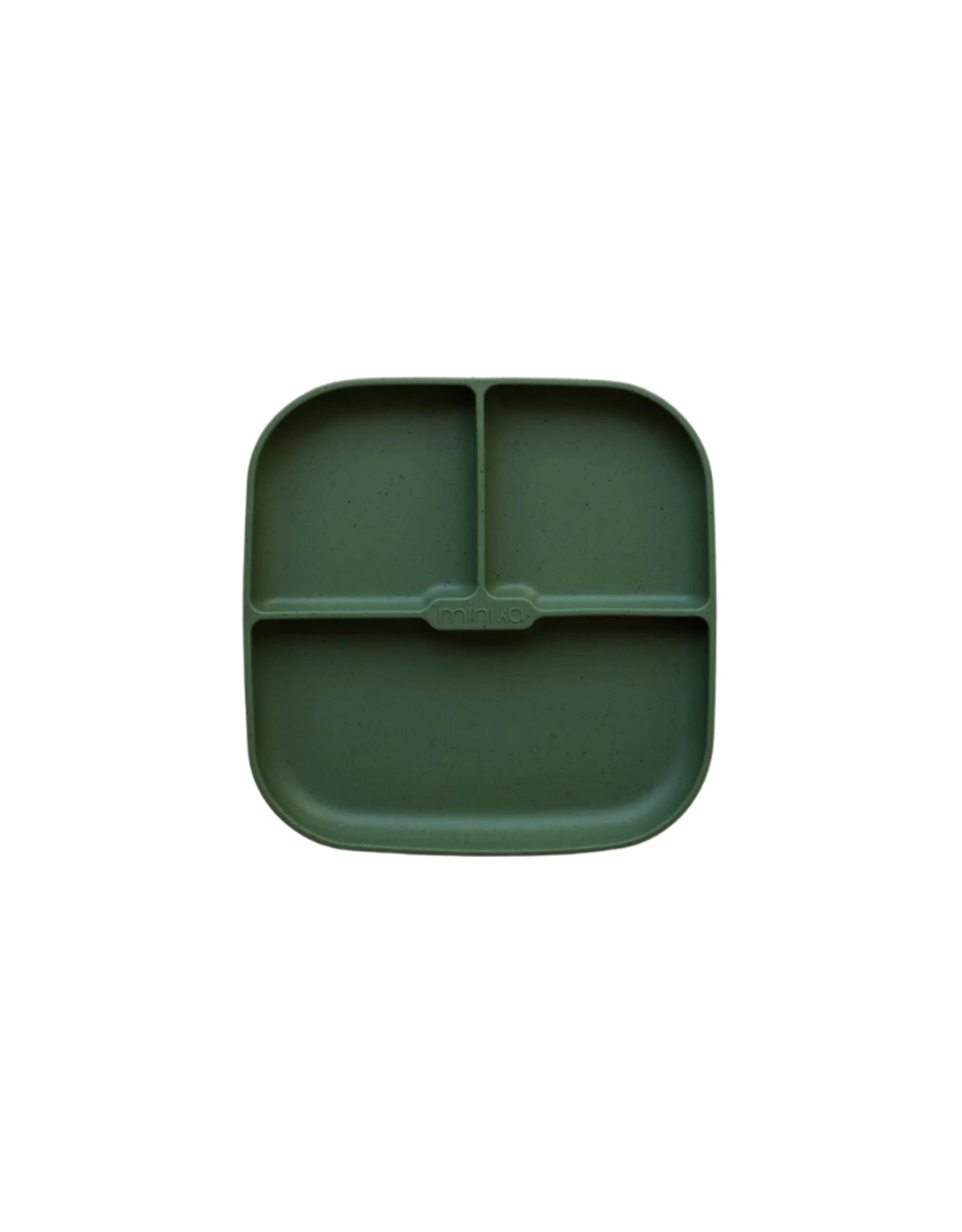 Minika Assiette séparée en silicone avec base succion -Forêt